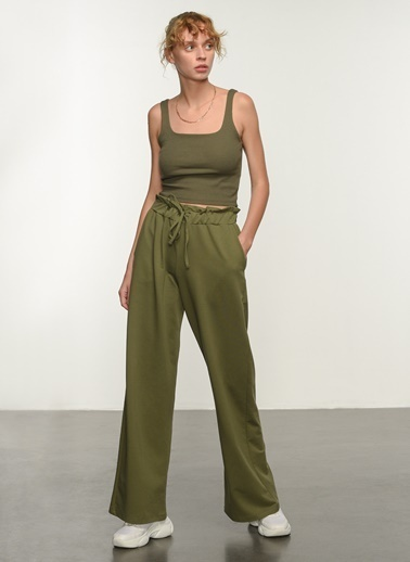 People By Fabrika People By Fabrika Kemer Detaylı Kadın Pantolon Haki
